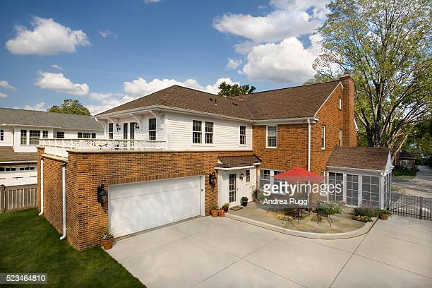 side yard of traditional brick home - brick house stock pictures, royalty-free photos & images