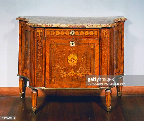 Sideboard with tulipwood and boxwood marquetry marble top and copper applications Netherlands 18th century Amsterdam Rijksmuseum
