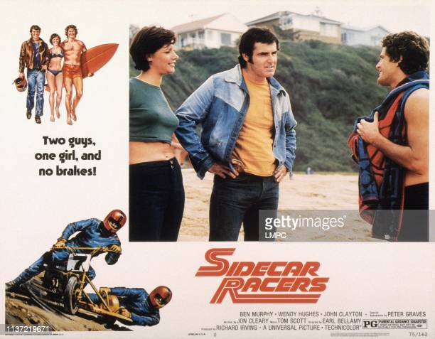 Sidecar Racers, poster, US lobbycard, from left: Wendy Hughes, John Clayton, Ben Murphy, 1975.