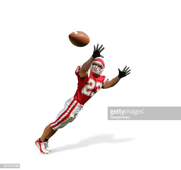 sideline catch with clipping path - wide receiver athlete stock pictures, royalty-free photos & images