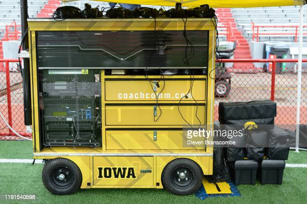 Sideline gear brought by the Iowa Hawkeyes for the game against the Nebraska Cornhuskers at Memorial Stadium on November 29 2019 in Lincoln Nebraska