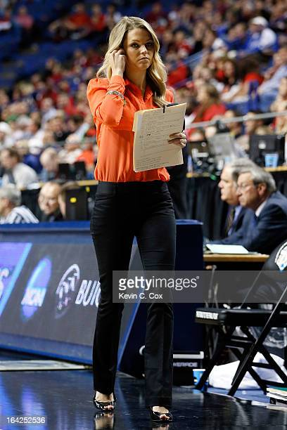 Sideline report Allie LaForce walks on the court during the second round of the 2013 NCAA Men's Basketball Tournament at the Rupp Arena on March 21...