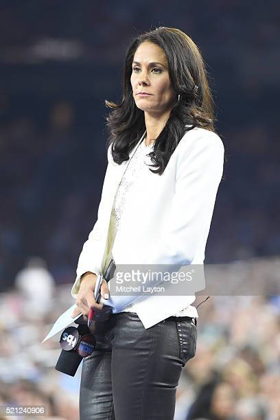 Sideline report Tracy Wolfson looks on during the NCAA College Basketball Tournament Championship game between the Villanova Wildcats and the North...