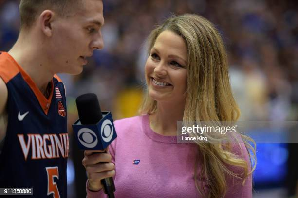 CBS sideline reporter Allie LaForce interviews Kyle Guy of the Virginia Cavaliers following their win against the Duke Blue Devils at Cameron Indoor...