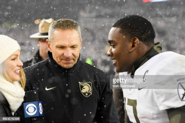CBS sideline reporter Allie LaForce inteviews Army Black Knights head coach Jeff Monken and quarterback Ahmad Bradshaw on December 9 2017 at Lincoln...