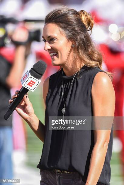 ESPN sideline reporter Allison Williams during a college football game between the Michigan Wolverines and the Indiana Hoosiers on October 14 2017 at...