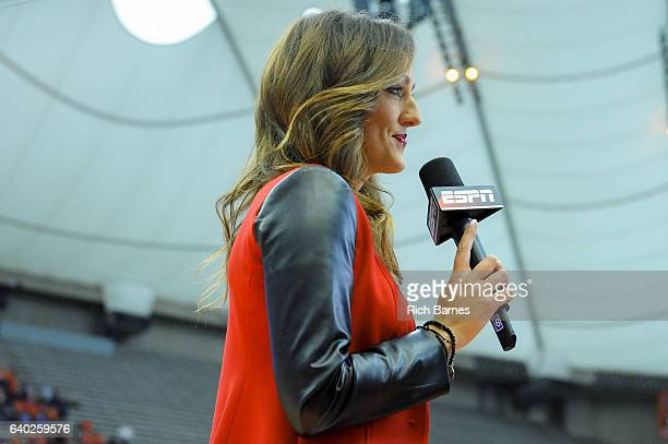 ESPN sideline reporter Allison Williams during the game between the Florida State Seminoles and the Syracuse Orange at the Carrier Dome on January 28...