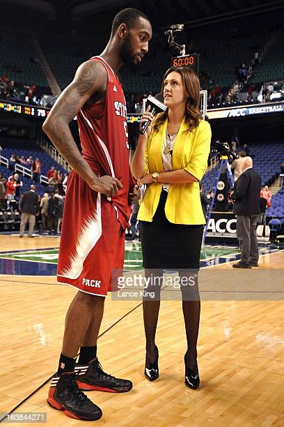 ESPN sideline reporter Allison Williams interviews CJ Leslie of the North Carolina State Wolfpack following a game against the Virginia Cavaliers...
