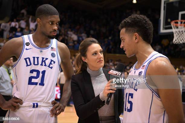 ESPN sideline reporter Allison Williams interviews Frank Jackson and Amile Jefferson of the Duke Blue Devils following their game against the Florida...