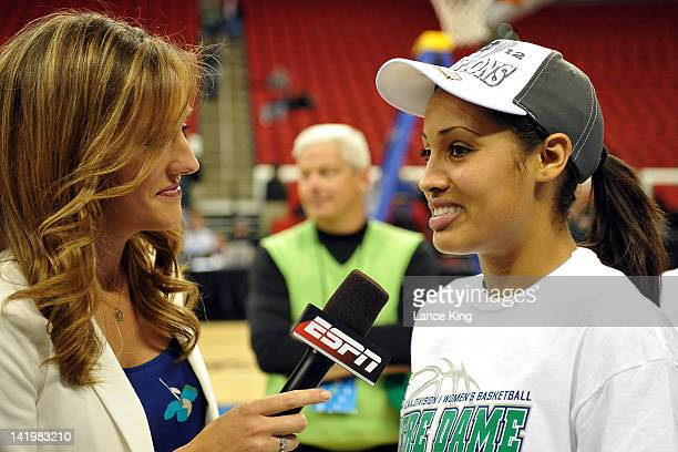 ESPN sideline reporter Allison Williams interviews Skylar Diggins of the Notre Dame Fighting Irish following their win against the Maryland Terrapins...