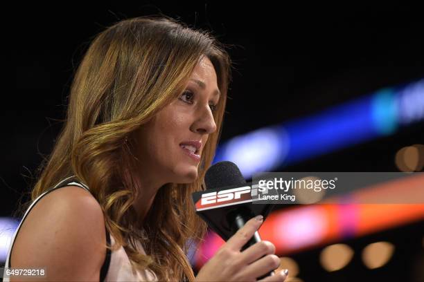 ESPN sideline reporter Allison Williams reports during the game between the Clemson Tigers and the Duke Blue Devils during the second round of the...