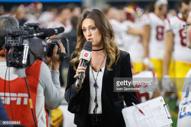 ESPN sideline reporter Allison Williams talk to the camera on the sideline during the Cotton Bowl Classic matchup between the USC Trojans and Ohio...