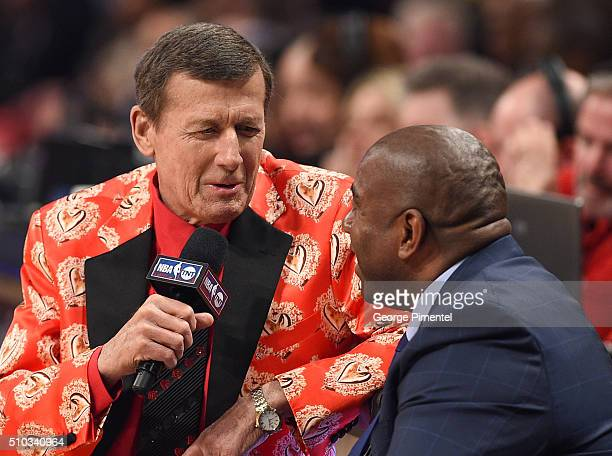 Sideline Reporter Craig Sager and Former NBA Player Magic Johnson attend the 2016 NBA AllStar Game at Air Canada Centre on February 14 2016 in...