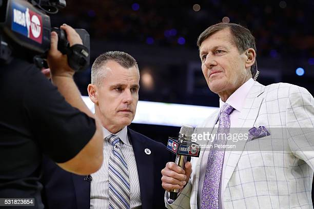 TNT sideline reporter Craig Sager prepares to interview Billy Donovan of the Oklahoma City Thunder during game one of the NBA Western Conference...