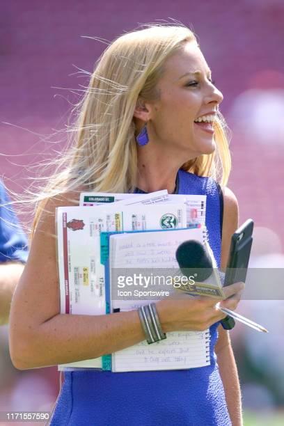 SEC sideline reporter Dawn Davenport before the game between the Colorado State Rams and Arkansas Razorbacks at Razorback Stadium on September 14...