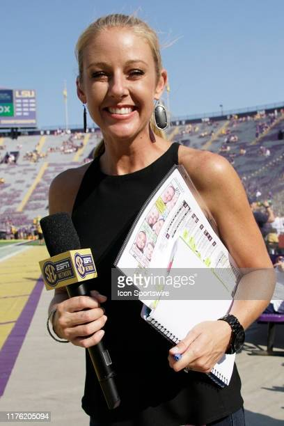 ESPN sideline reporter Dawn Davenport before the game between the LSU Tigers and Utah State Aggies at LSU Tiger Stadium on October 5 2019 in Baton...