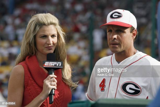 ESPN sideline reporter Erin Andrews interviews head coach David Perno of the Georgia Bulldogs against the Fresno State Bulldogs during Game 1 of the...