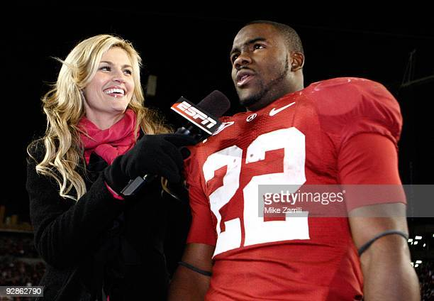 ESPN sideline reporter Erin Andrews interviews running back Mark Ingram of the Alabama Crimson Tide after the game against the South Carolina...