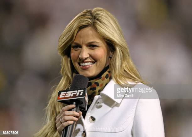 ESPN sideline reporter Erin Andrews smiles onair during the game between the Georgia Tech Yellow Jackets and the Miami Hurricanes at Bobby Dodd...