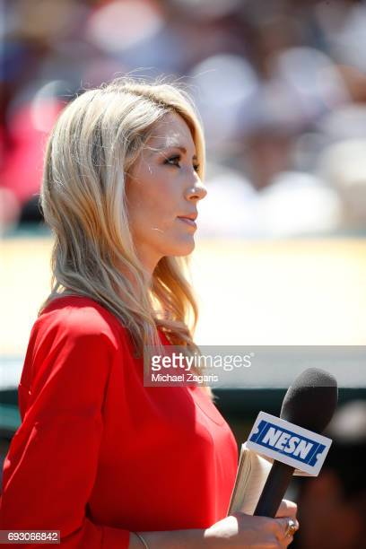 Sideline reporter Guerin Austin of NESN stands on the field during the game between the Boston Red Sox and the Oakland Athletics at the Oakland...