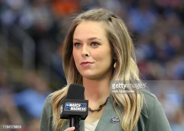 TBS sideline reporter Jamie Erdahl reports immediately before the second half of an NCAA Midwest Regional Sweet Sixteen game between the Houston...