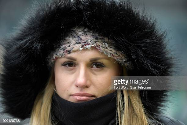 NFL sideline reporter Jane Slater braves the cold as the Dallas Cowboys take on the Philadelphia Eagles at Lincoln Financial Field in Philadelphia on...