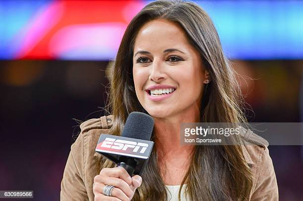 ESPN sideline reporter Kaylee Hartung provides her opening piece to the game for the ESPN TV audience before the Sugar Bowl game between the Auburn...