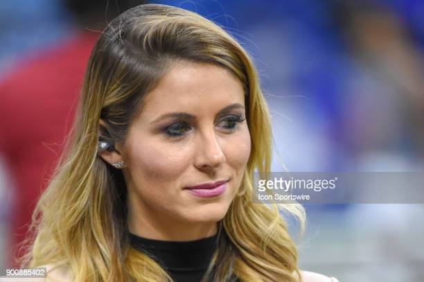ESPN sideline reporter Laura Rutledge walks near the sideline before the College Football Playoff Semifinal at the Allstate Sugar Bowl between the...