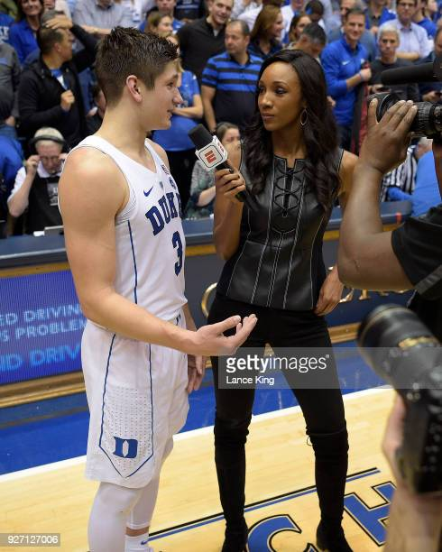 ESPN sideline reporter Maria Taylor interviews Grayson Allen of the Duke Blue Devils following the game against the North Carolina Tar Heels at...