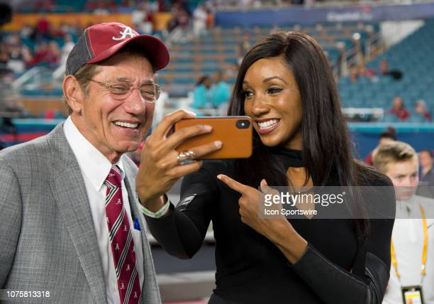 ESPN sideline reporter Maria Taylor takes a selfie with Joe Namath on the Alabama sidelines before the start of the College Football Playoff...