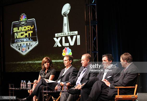 Sideline Reporter Michele Tafoya Game Analyst Chris Collinsworth TV personality Al Michaels Producer Fred Gaudelli and Chairman of NBC Sports Group...