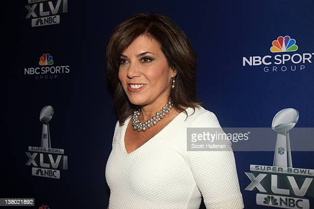 NBC sideline reporter Michele Tafoya looks on during the Super Bowl XLVI Broadcasters Press Conference at the Super Bowl XLVI Media Canter in the JW...