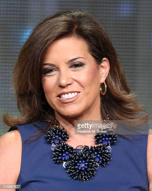 Sideline Reporter Michele Tafoya speaks onstage during the Sunday Night Football panel discussion at the NBC portion of the 2013 Summer Television...