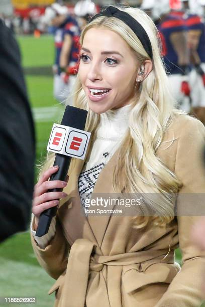 ESPN sideline reporter Olivia Dekker reports during the college football game between the Arizona Wildcats and the Arizona State Sun Devils on...