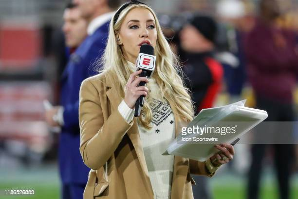 ESPN sideline reporter Olivia Dekker reports the college football game between the Arizona Wildcats and the Arizona State Sun Devils on November 30...
