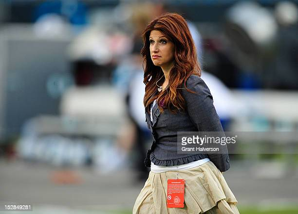 ESPN sideline reporter Rachel Nichols before a game between the New York Giants and the Carolina Panthers at Bank of America Stadium on September 20...