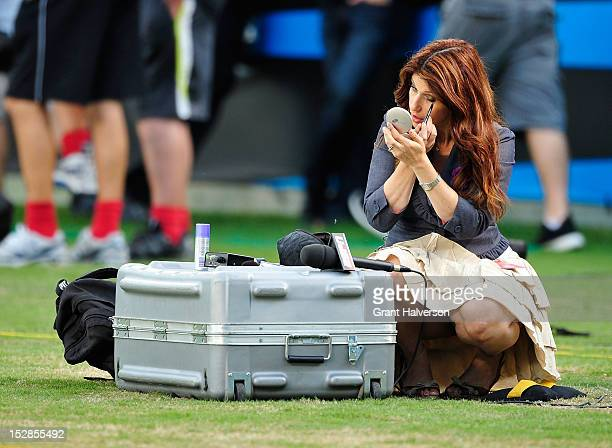Sideline reporter Rachel Nichols prepares for a game between the New York Giants and the Carolina Panthers at Bank of America Stadium on September...