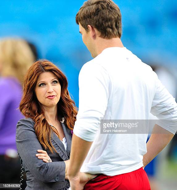 Sideline reporter Rachel Nichols talks with Eli Manning of the New York Giants before a game against the Carolina Panthers at Bank of America Stadium...