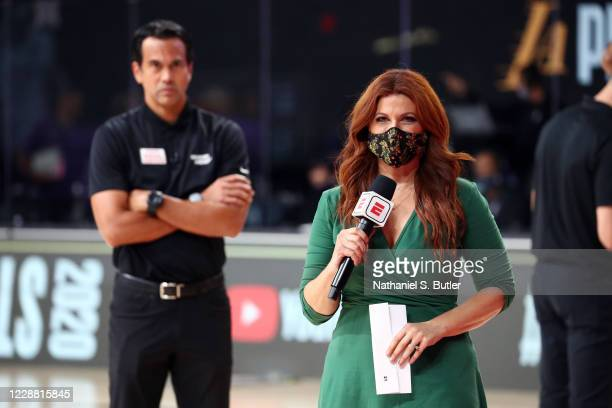 Sideline Reporter Rachel Nichols talks with Erik Spoelstra of the Miami Heat during the game against the Los Angeles Lakers during Game One of the...