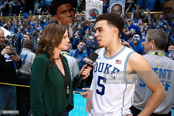 ESPN sideline reporter Shannon Spake interviews Tyus Jones of the Duke Blue Devils following a game against the North Carolina Tar Heels at Cameron...