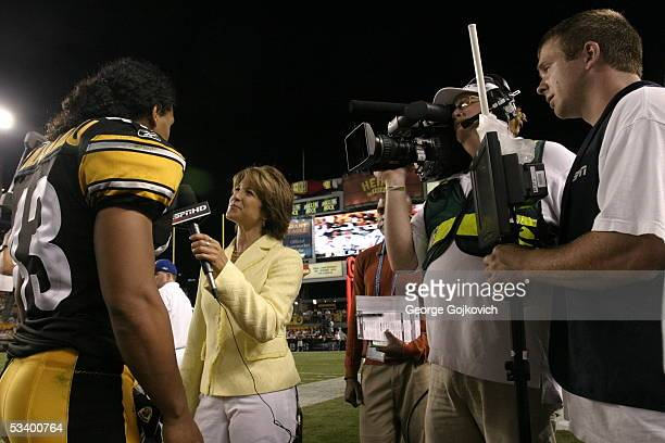 Sideline reporter Suzy Kolber interviews Troy Polamalu of the Pittsburgh Steelers during a preseason game between the Steelers and Philadelphia...