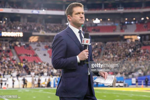 ESPN sideline reporter Todd McShay reports before the college football game between the UCF Knights and the LSU Tigers on January 1 2019 at State...
