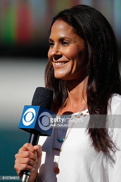 CBS sideline reporter Tracy Wolfson during a game between the Pittsburgh Steelers and Philadelphia Eagles at Lincoln Financial Field on September 25...