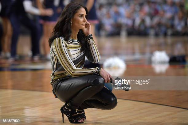 CBS sideline reporter Tracy Wolfson observes the Gonzaga Bulldogs team during a time out against the North Carolina Tar Heels during the 2017 NCAA...
