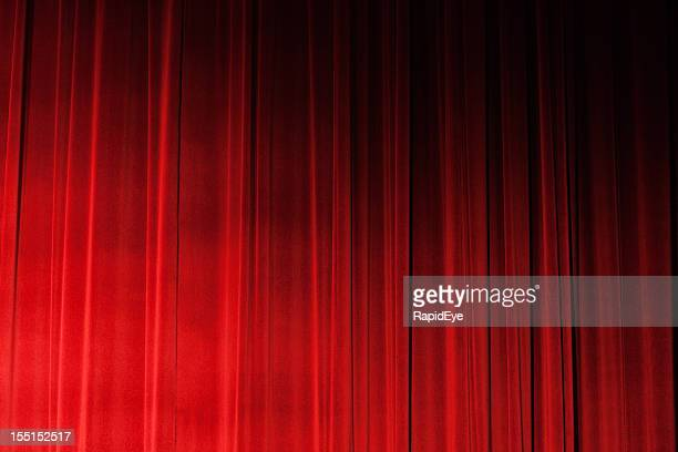 Sidelit closed ruched red velvet theatre drapes