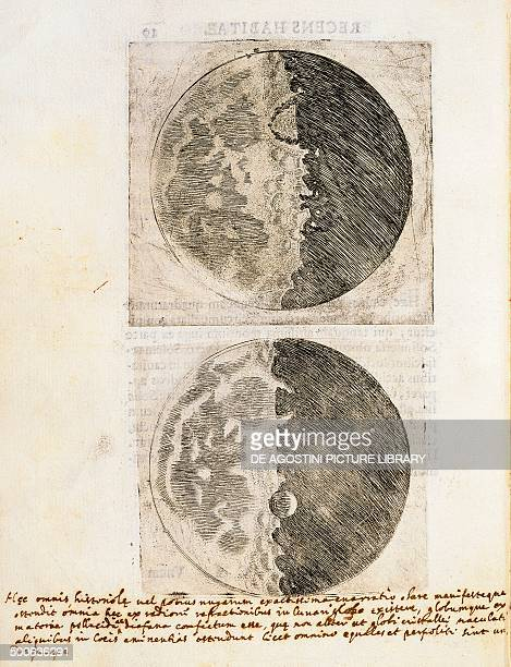 Sidereus Nuncius with drawings of the phases and surface of the Moon manuscript by Galileo Galilei . Venice, annotation 110, C2, v 10. Florence,...