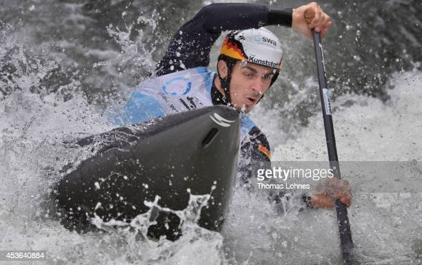 Sideris Tasiadis of Germany competes qualification heat at the Canoe Single Men during ICF Canoe Slalom World Cup Final on August 15 2014 in Augsburg...