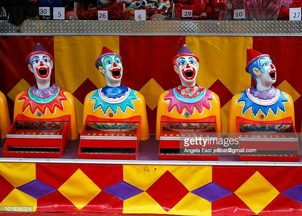 sideshow clowns - traveling carnival stock pictures, royalty-free photos & images