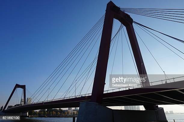 Sideview on Willemsbrug Bridge, Rotterdam, the Netherlands