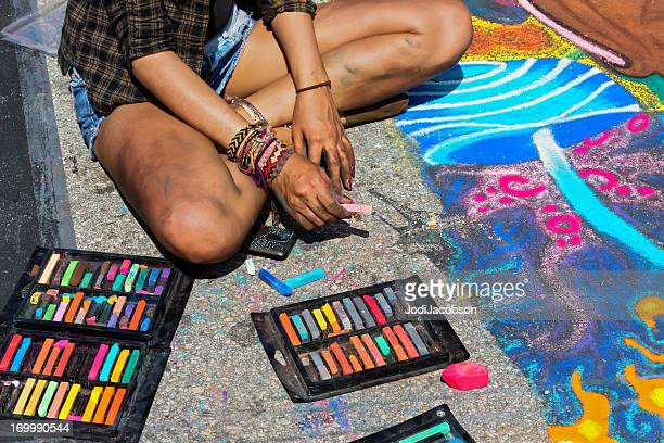 sidewalk art - chalk drawing stock pictures, royalty-free photos & images